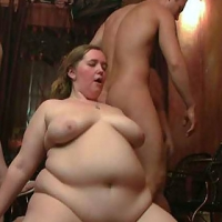 Turned on chick on the floor of the pub getting fucked in her fat sex-hole after a great blowjob