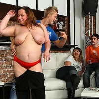 Sexy FATTY party girls are drunk and letting the young men have their way with them
