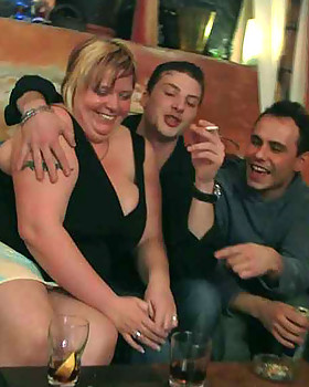 The three FATTY friends come to the bar & end up naked with great hardcore pecker riding