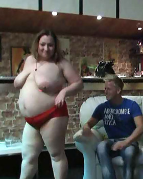 The beautiful FATTY slut at the party gets butt-naked with her friends and takes cock from behind