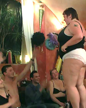 They all get butt-naked & then one horny fat chick rides a penis as she delivers another a BJ