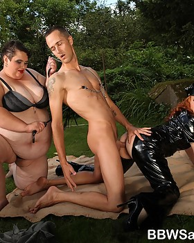 Hot femdom action with two Bbw dommies