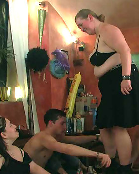 Horny Fatty babes are in the bar having sex and sucking cocks & the orgy is sizzling hot