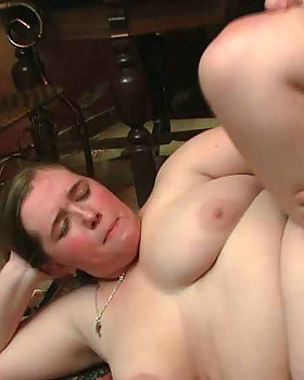 Horny chick on the floor of the pub getting fucked in her fat vagina after a great blowjob