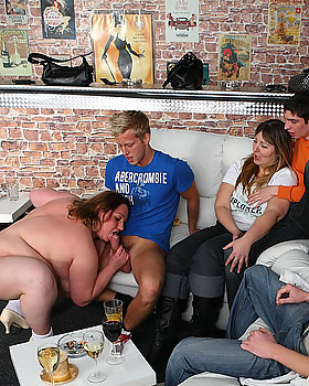 Fat fucking goes down at this immense party with sluts and men getting crazy horny