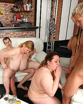 Fat fucking goes down at this massive party with sluts and gentlemen getting crazy horny