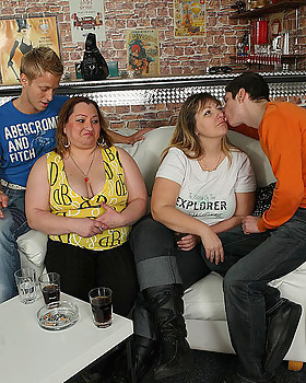 The orgy in the bar features drunken PLUMPERS sucking penis & getting fingered