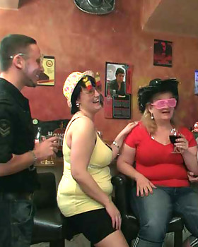 The drunken fat chicks get this party started by stripping, dancing, and sucking on some cock