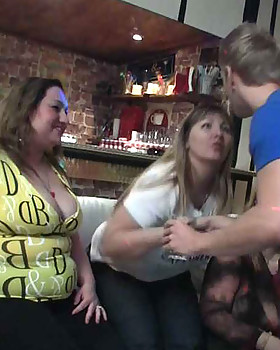 They are drinking & dancing at the great party and the fat sluts give up the pussies