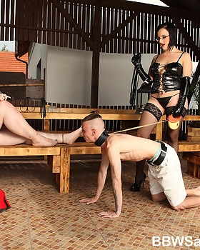 Femdom session with two big attractive women