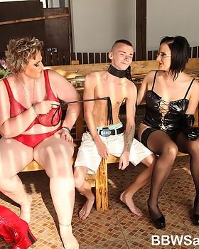 Femdom session with two plentiful pretty women