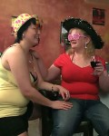 The fat party girls in their fun hats and glasses get naked & fool around for the hombres